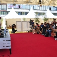 Crew of the film IN BLOOM, Press Conference, Festival Square, 2013, © Obala Art Centar