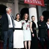 Christoph Terhechte, Chris Dercon, Daniela Michel, Melissa Leo, Orsi Tóth, Béla Tarr and Rasha Salti - Members of the jury for Competition Programme - Feature film at Red Carpet, National Theatre, Sarajevo Film Festival, 2014 (C) Obala Art Centar
