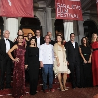 Cast and crew of the film THREE WINDOWS AND A HANGING, Red Carpet Ceremony, National Theatre, Sarajevo Film Festival, 2014 (C) Obala Art Centar