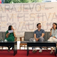 Michel Hazanavicius - Director of the film THE SEARCH with  Bérénice Bejo - Actress of the film THE SEARCH, Coffee With... Programme, Festival Square, Sarajevo Film Festival, 2014 (C) Obala Art Centar