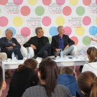 Danis Tanović, Čedomir Kolar, Danny Huston and Andy Paterson, TIGERS, in conversation with Caroline Daniel, british journalist,