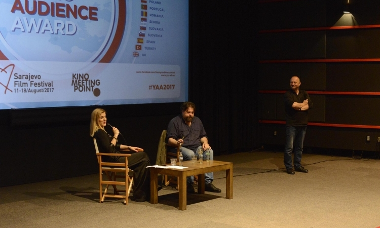 Moderator Emela Burdžović with director Pjer Žalica and Sarajevo Film Festival director Mirsad Purivatra